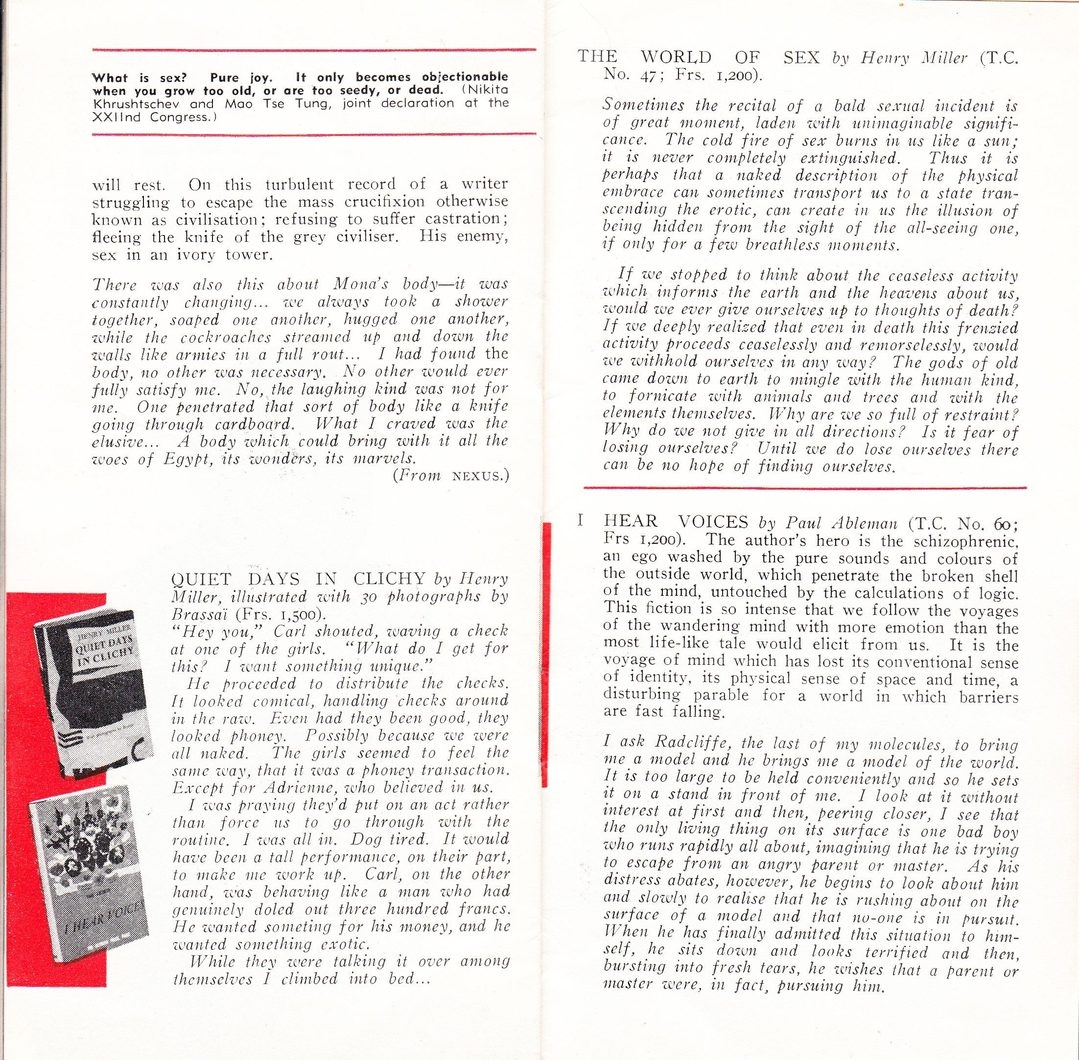 Olympia Press catalogue | Paris Olympia Press