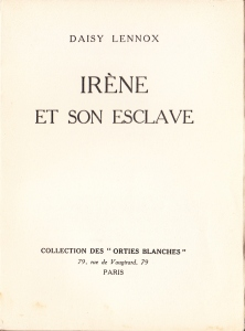 Irene et son Esclave Orties Blanches Davanzo 1933_0002