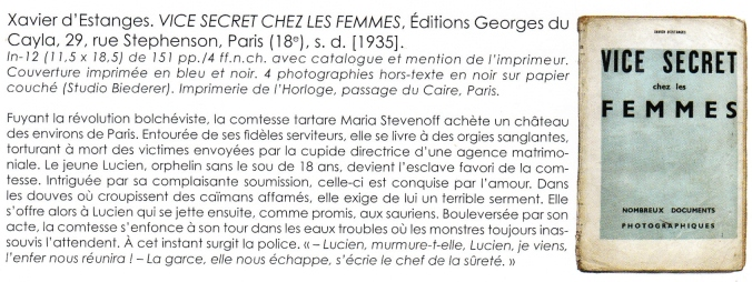 Vice Secret Georges Du Cayla 1935